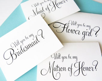 Will You By My Bridesmaid Card, Bridesmaid Proposal card, Will you be my Matron of Honor Card, Will you be my Flower Girl Card, (7ct) WFS01