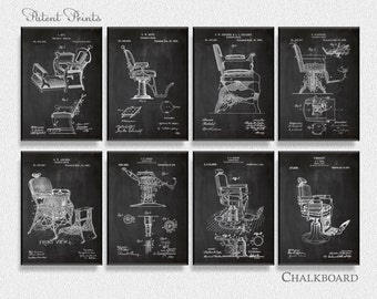 Barbers Chairs Patents Set of 8 Prints, Barbers Prints, Barbers Posters, Barbers Blueprints, Barbers Art, Barber shop
