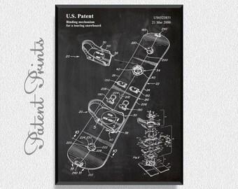 Snowboard Patent Print, Mountain Home Decor, Ski Wall Art, Snow Ski, Patent Print, Sports Wall Decor, Snowboard Wall Art, Snowboard Decor