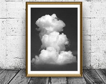 Cloud Print, Black And White Wall Art, Cloud Poster, Housewarming gift, Form of Cloud, Minimal Photo, Sky Print, Landscape Photo, Dramatic