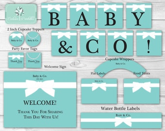 9 Blue Bow Baby Shower Party Printables (Baby & Co. Banner, Welcome Sign, Cupcake Toppers, Favor Tags, Food Tents, Bottle Labels)