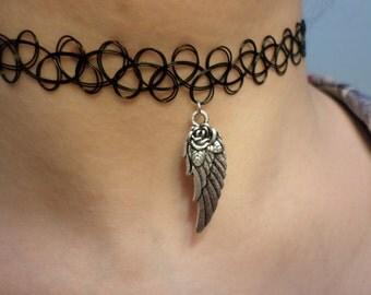 Tattoo choker Angel wing tattoo choker neclace charm choker angel choker vegan grunge choker emo choker boho choker hippie goth choker.