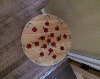 Hand painted - Poppy table/stool.