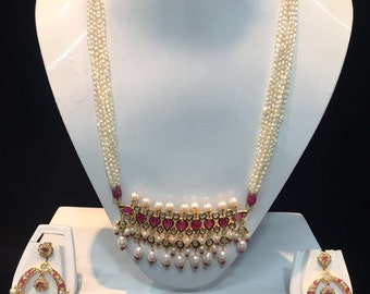 Alyza Pearls Traditional Tirmani Set With Chand Bali.