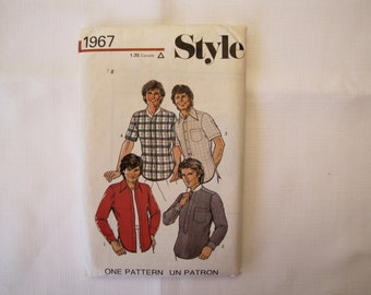 Vintage Sewing Pattern Men's Shirt, Style 1967 Sewing, Sewing Pattern