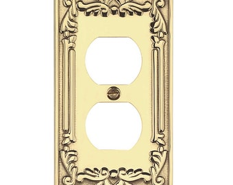 6 Outlet Plates Bright Solid Brass Victorian Style Set Of 6 | Renovators Supply