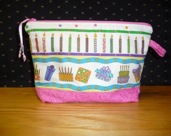 Medium Birthday themed project bag,  FREE SHIPPING!!!!  Cosmetic bag, kindle or e reader bag, knitting bag