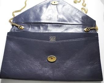 Vintage Genuine Leather Navy Blue Shoulder Bag With Gold Chain Strap Handle Leather Envelope Bag