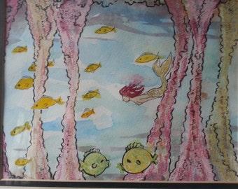 Vintage original watercolor - ink - crayon Mermaid wall art