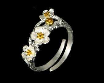 Flowers ring 925 sterling silver, flower ring