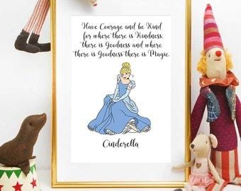Cinderella Party Print, Princess Cinderella, Disney Quotes, Cinderella Girl Decor, Cinderella Quote, Disney Printables, Nursery Wall Art