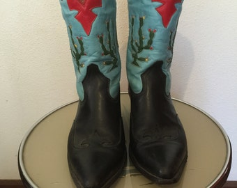 Vintage Mens Western boots hand made all leather.size 10.5 D1/5