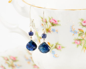 Sterling silver sapphire and sapphire rondelle earrings