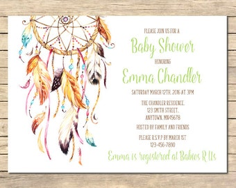 Dreamcatcher Baby Shower Invitation, Boho Printable Invite, Boho Tribal Baby Shower, Hippie Invite, Feathers DIY Invite Download, 022-N