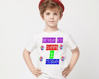 Kids personalised boys birthday  t shirt any colour and size available 0/1 to 9/11