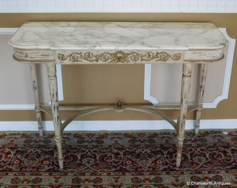 Elegant 1930s Brush Painted White French Marble Top Hallway Console Table