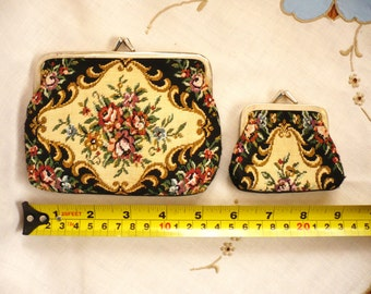 Purse - Vintage - Tapestry Design - Clutch with Change Purse