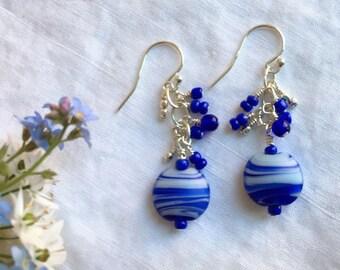 Blue Swirl Dangle Earrings