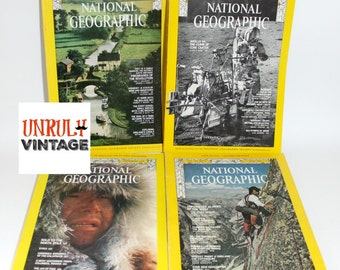 FOUR Issues 1970s National Geographic Vintage Ephemera (F)