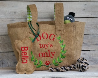 Personalized bag for Hundespieleug, dog toy's only, dog toy storage, Bello cleans up