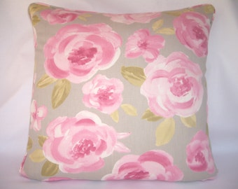 Pink roses modern Clarke & Clarke cabbage rose design cushion cover.