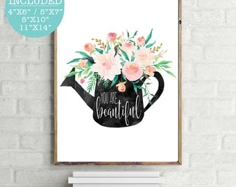 You Are Beautiful, Watercolor Art, Trending Prints, Printable Floral Art, Floral Quote Print, Printable Quote, Flower Print, Modern Wall Art