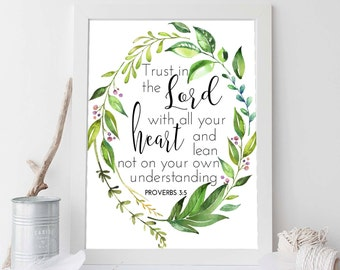 Proverbs 3:5, Trust In The Lord, Scripture Print, Scripture Art, Bible Verse, Bible Verse Art, Bible Verse Print, Christian Wall Art, Verse