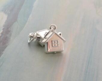 2 pcs sterling silver house charm pendant  QT20