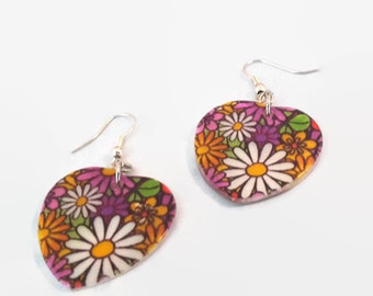 Heart Shaped 70's Inspired Flower Earrings