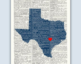 Texas Print, Texas Map, Texas Wall Art, Texas Gift, Wedding Gift, Austin Texas Print, Texas Decor, Texas Poster, Established Sign