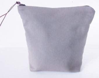 Plain Coloured 100% Cotton Canvas Zipped Purse, Cosmetic Bag/Organiser, Taupe