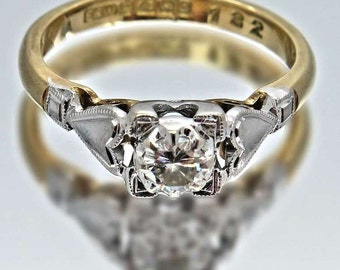 Vintage Engagement Ring. Diamond Solitaire 18ct Gold, Free Worldwide Shipping.