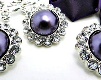 GRAPE PURPLE Pearl Rhinestone Acrylic Buttons W/ Crystal Clear Surrounding Rhinestones Brooch Button Bouquet Coat Buttons 26mm 3185 95P 2R