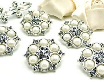 Shiny IVORY Pearl Buttons W/ Clear Surrounding Rhinestones Silver Acrylic Rhinestone Buttons Wedding Garment Coat Fashion 25mm 5057 91P 2R