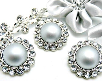 LIGHT SILVER Pearl Rhinestone Acrylic Buttons W/ Crystal Clear Surrounding Rhinestones Button Bouquet Garment Coat Buttons 26mm 3185 84P 2R