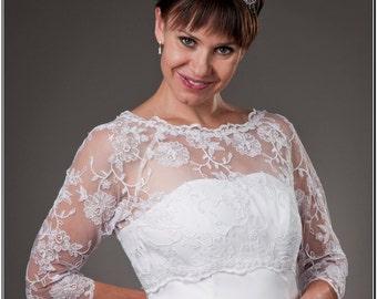 New Wedding White Ivory Lace Bolero Jacket Bridal Shrug 3/4 Sleeves A-99