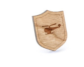 Helicopter Lapel Pin, Wooden Pin, Wooden Lapel, Gift For Him or Her, Wedding Gifts, Groomsman Gifts, and Personalized