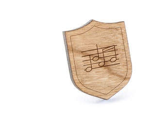 Sheet Music Lapel Pin, Wooden Pin, Wooden Lapel, Gift For Him or Her, Wedding Gifts, Groomsman Gifts, and Personalized