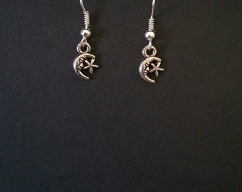 Pagan/Wiccan Inspired Moon And Star Themed Drop Earrings.