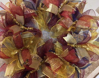 Fall Wreath-Autumn Wreath-Deco Mesh Wreath-Thanksgiving Day Wreath