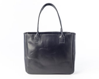 Leather Bag, Black Leather Bag, Black Leather Tote, Natural Leather Bag, Women Leather Bag, Black Tote Bag, Women Bag, Black Bag