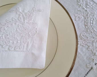 Linen Placemats and Napkins with Hemstitch and French Lace. Wedding table setting.