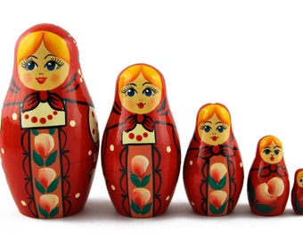 Matryoshka Matrioska Babuska Russian Nesting Wooden Doll Red Sundress Babouska Babushka 5 Pcs Stacking Painting