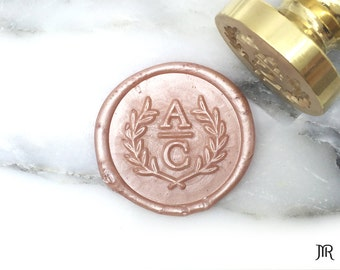 MR Wax Seal Stamp Personalized Wedding Monogram Custom Initials Olive Branch Wreath