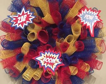 Superhero Deco Mesh Wreath