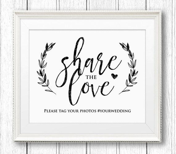Spanish Wedding Hashtags: Wedding Hashtag Sign Share The Love Reception Sign Rustic
