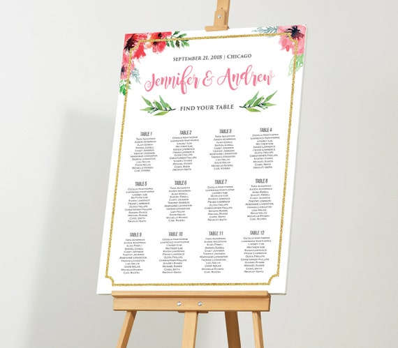 wedding seating chart editable seating plan instant. Black Bedroom Furniture Sets. Home Design Ideas