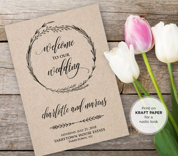 Wedding program template instant download by mintypaperieshop for Wedding ceremony order of service template free
