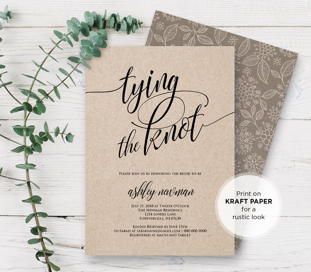 rustic bridal shower invitation printable tying the knot wedding shower invite template editable pdf file instant download 115bs