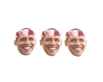 Obama with a Flower Crown Inspired Sticker Set